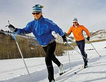 Two cross country skiers in the winter