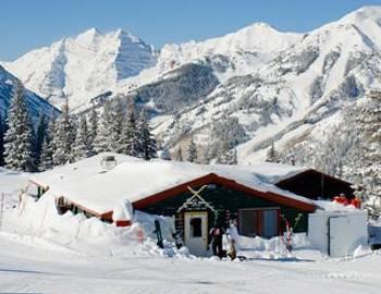 Exterior of restaurant hosting snowcat dinners in winter