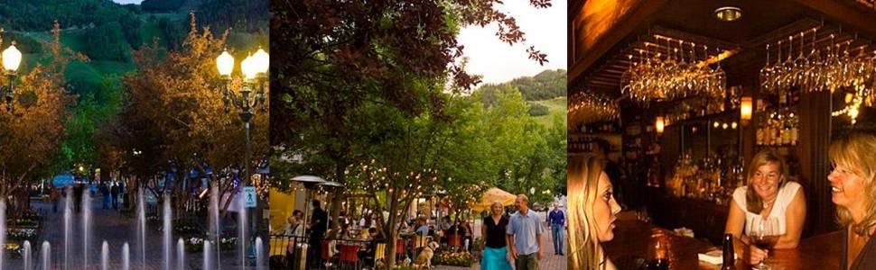 A series of three images depicting scenes at Aspen restaurants