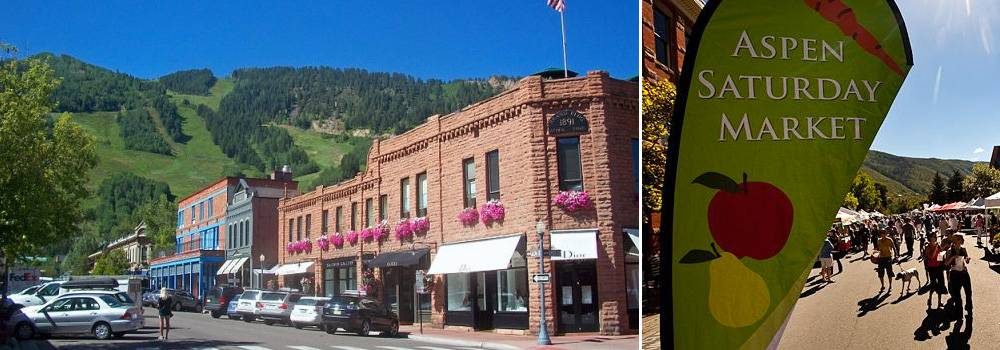 Two images featuring shopping in downtown Aspen