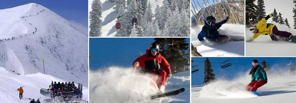 A collage of 6 images of skiers in the winter
